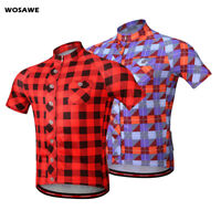 Mens Cycling Jersey Short Sleeve Checked Plaid Shirt Bike Bicycle Casual T-Shirt