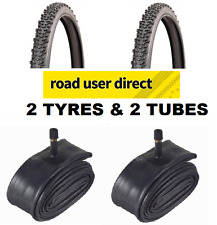 2 x 24 x 1.75 All Black Tyres & 2 x Inner Tubes Schrader Valves - Free Delivery