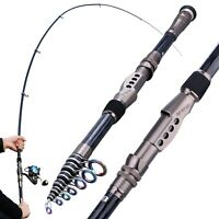 Fishing Rod Ultralight Carbon Fiber Portable Telescopic Sea Spinning Pole US