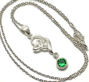 .925 Sterling Silver 0.75ct Emerald Pendant Necklace