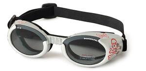 Dog Sunglasses UV - Doggles ILS - Dog Puppy Eye Protection, Silver Skull - Large
