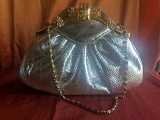 Silver  evening bag with gold frame and clasp.  Please read.
