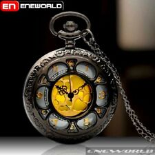 Watch Necklace Chain Pendant Antique Mens Vintage Gold Dial Quartz Retro Pocket
