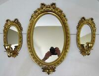 VTG HOMCO GOLD PLASTIC FRAME OVAL MIRROR AND MATCHING MIRRORED WALL SCONCES