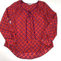 Daniel Rainn Womens Blouse Top Peasant Tie Neck Long Sleeve Purple Red Size L
