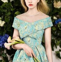 Luxury Gold Floral Jacquard Fabric Fashionista Brocade Apparel Dress Fabric 0.5M