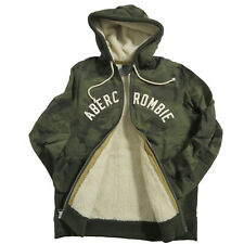 ABERCROMBIE & FITCH Men's Sherpa-Lined Logo Hoodie size: L