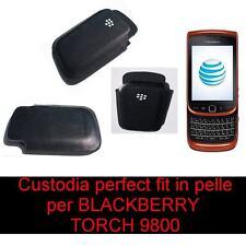 CUSTODIA PER BLACKBERRY Torch 9800 IN PELLE nera