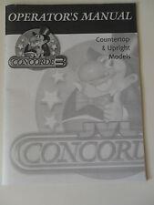 Original JVL Concorde 3 Operator's Manual for Countertop & Upright Models