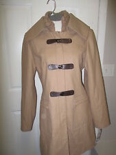 Jessica Simpson Knit Collar Faux Leather Clip Front Walker Coat L Camel NWT
