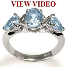 14k White Gold Natural 2.5 Ct Aquamarine Three Stone Ring Style Number: R1317.