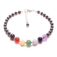 Sterling silver chakra bracelet gemstones Magnetic Hematite Haematite gem stones