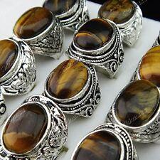 New 5pcs Antique Silver Tiger Stones Vintage Mens Rings Wholesale Jewley Lots