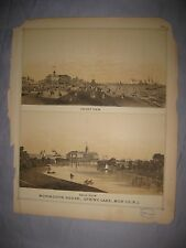 ANTIQUE 1878 SPRING LAKE NEW JERSEY LITHOGRAPH PRINT BEACH HOTEL RESORT MARITIME