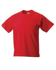 RUSSELL CHILDREN'S CLASSIC T-SHIRT PLAIN TOP 100% SOFT COTTON COLOURS BOYS GIRLS
