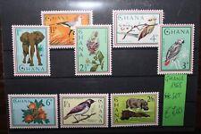 "FRANCOBOLLI GHANA 1965 ""ANIMALI UCCELLI FIORI NATURA ELEFANTI"" MNH** SET (CAT.X)"