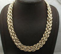 Technibond Braided Woven Wheat Link Chain Necklace 14K Yellow Gold Clad Silver