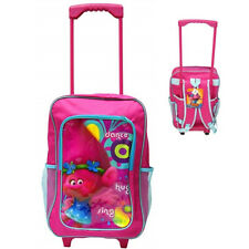 Girls Trolls Deluxe Kids Luggage Trolley Backpack Cabin Bag Suitcase On Wheels