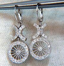 .74ct Diamonds Dangle Wheel Barrow Mod Earrings 14 Karat
