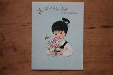 Vintage Unused Greeting Card Aunt Birthday 1950s Embossed Gibson Cute Girl Pink