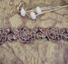 1 Yard Metallic Corded Lace Trim  Embroidery Ribbon Flower Headband DIY Sewing