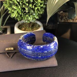 NWT $3200 John Hardy Classic Chain Lapis Lazuli Wide Cuff Bracelet 925 Silver