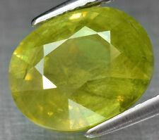 4.74 ct 11x9 mm Oval Natural Yellowish Green Sphene, Rainbow Flash