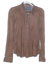 Ralph Lauren Leather Suede Shirt Mens Small Brown Full Button Front