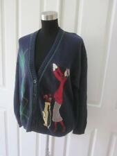 Vtg Talbots Navy Blue Cardigan Sweater w/ Woman Playing Golf Sz M
