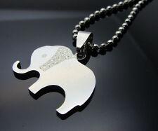 Elephant 1pcs Women/ Men's Silver 316L Stainless Steel  Pendant Necklace
