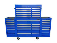 """22 US PRO Tools Blue Tool Chest Box Steel Drawers Snap It Up 2 side cabinet 75"""""""