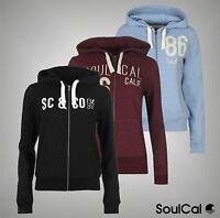New Ladies SoulCal Stylish Logo Print Fleece Lined Full Zip Hoodie Top Size 8-18