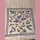 Vintage Mid Century MCM  Floral Kashmir Handmade Crewel Embroidered pillow Cover