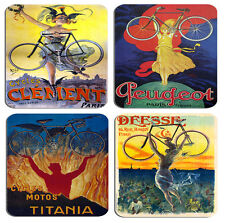 Vintage French Bicycle Advert Poster Coasters Set Of 4 High Quality Cork. Bike