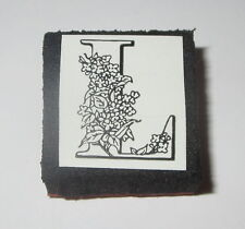 "L Rubber Stamp Foam Mounted Letter Initial Flowers NOS 1"" High New"
