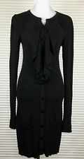 SASS AND BIDE Size M Black Frill Knit Dress Buttons Down Long Sleeves Pockets