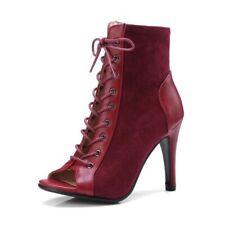 Women Ladies High Heel Lace Ups Peep Toe Party Stilettos Ankle Boots Shoes Size