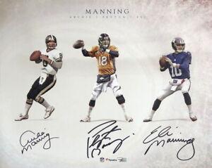 Peyton Eli and Archie Manning Signed 16x20 Photo Fanatics
