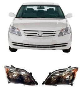 For 08 10 Toyota Avalon Black Housing Set Pair Headlights Lamps Replacement