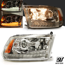 2009-2018 Ram 1500/2500/3500  LED DRL Chrome Clear Projector Headlights Assembly
