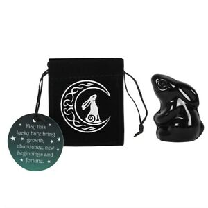 Moon Gazing Hare Glass Figure in Suede Pouch. Pagan/Wiccan/Altar Charm.