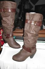 NEW* Sz 9 CROWN VINTAGE, Award;  Brown Faux Leather Knee-High Boots MSRP: $179