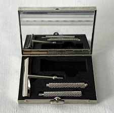 Boxed Slim Stainless Steel Razor NO BLADES - Metal 3 Piece Shaft, Mirror in Lid