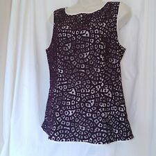 Banana Republic Brown Eyelet Sleeveless Ladies Shirt Size 12 fitted