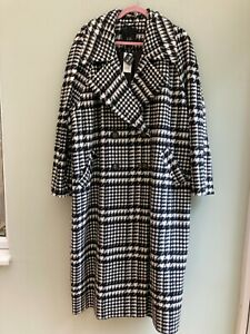 COAT UK 20 BY RIVER ISLAND HOUNDSTOOTH BLACK & ECRU DOUBLE BREASTED LINED BNWT