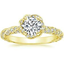 Diamond Engagement Bridal Ring 1.56 Ct Round Solitaire 14K Yellow Gold Size 5