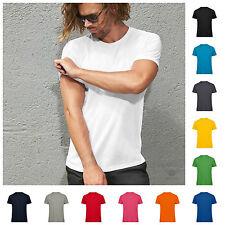 Mens Organic Ringspun Combed Cotton Plain Blank Tee Shirt Tshirt T-Shirt Top