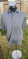 FootJoy FJ Blue White Striped Golf Polo Shirt Men's Size XL Milwaukee