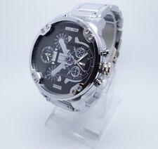 Vive Xxl Uhr DUAL TIME Armbanduhr Neu Top Silber / Schwarz Herren