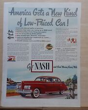1940 magazine ad for Nash - red Nash, America Gets New Kind of Low-Priced Car